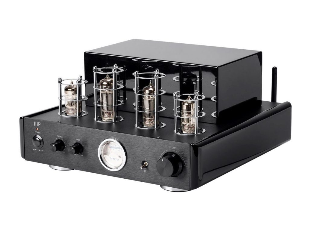 Monoprice Tube Amp with Bluetooth 50-watt Stereo Hybrid and Line Output,Black – (116153)