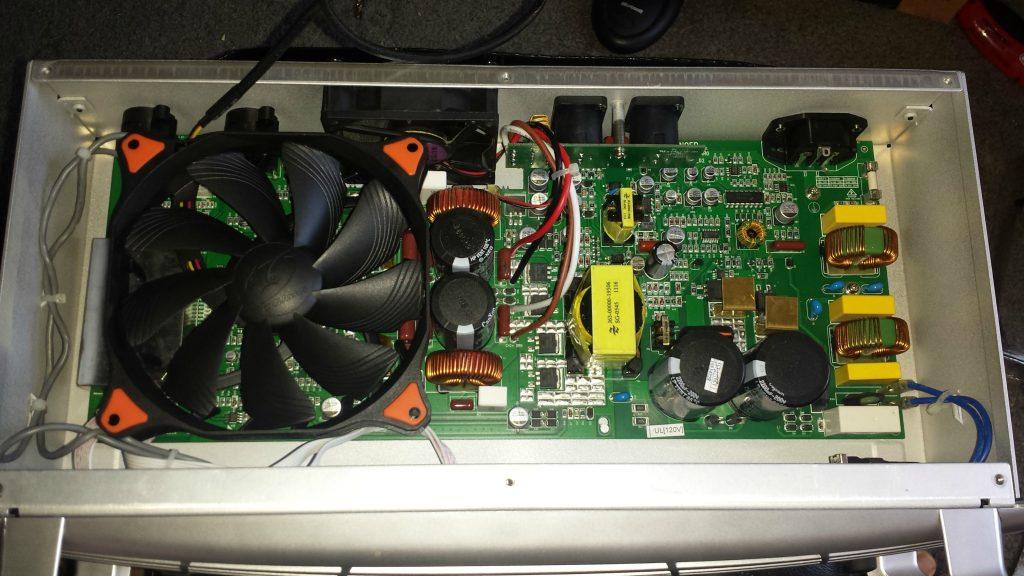 image of a fan inside of an amp unit